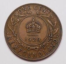 1929 Newfoundland Large Cent VF-EF Nice HIGH Grade King George V OLD Nfld. Penny