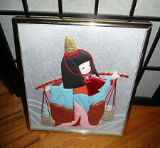 Japanese Oshie 3-D Japanese Girl in Kimono Carrying Water Fabric Paper Cloth