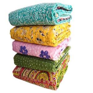 Vintage Kantha Quilt Bedspread Throw Cotton Blanket Indian Handmade Gudari