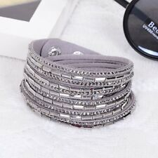 Made With Swarovski Elements Pave Crystal & Suede Double Strap Bracelet Grey
