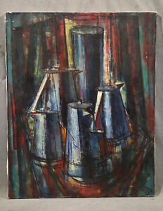 Vintage American Antique Cubist Expressionist Still Life with Tea & Coffee pots
