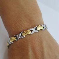 da donna acciaio inox Bio Braccialetto magnetico 5in1 ARGENTO/oro con cuori 02