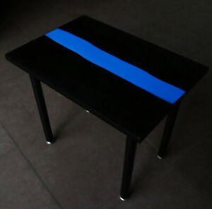 Epoxy Resin Blue River Black Matte Coffee Table With Lightning