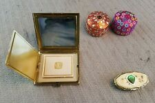 Vintage Lot of 3 Pill Boxes Trinket Box and vintage Compact  mirror