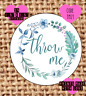 Throw me , wedding confetti stickers , labels , party , floral , tm21