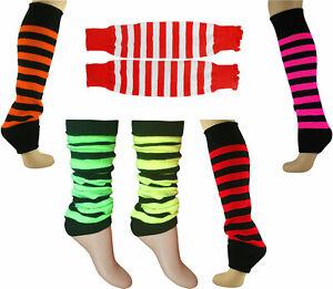 Womens Leg Warmers Girls Footless Striped Dance Fancy Dress Hen Stag Leg Warmers