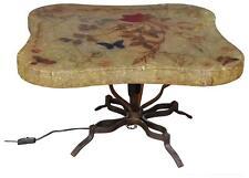 Accolay table basse résine années 70 inclusion papillons