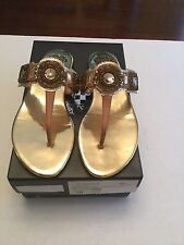 Vince Camuto Woman Madith Thong Sandals Beach Wood/Gold 8m New