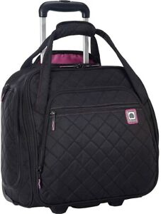 Brand New Delsey Paris Quilted Rolling Overnighter Luggage Tote, Black