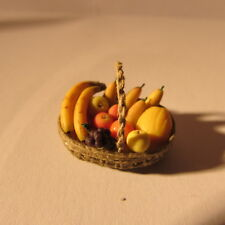 Artisan made fruit in a basket ~ 24th scale ~ dollhouse miniature food