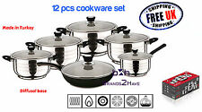 12 Pc Stainless Steel Induction Frypan Saucepan Pan Pot Cookware Set Glass Lids