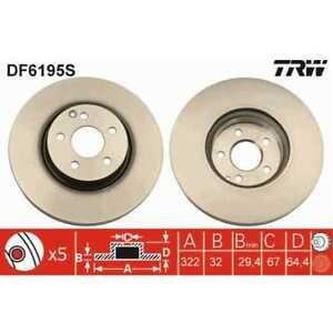 TRW 2x Discos de Freno Ventilado Pintado Negro DF6195S