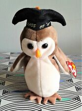 """Ty Wise 7"""" Owl Class of '98 Soft Toy Plush Beanie Baby Comforter TAG EXCELLENT"""