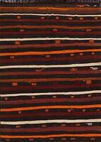 7x10 ft Vintage Striped Kilim Turkish Reversible Hand-Woven Oriental Area Rug
