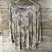 Caribbean Joe Women's XL Floral Top Extra Large Flower Shirt