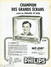 PUBLICITE ADVERTISING 106  1958  Philips  téléviseur  Vidéofonic TF 2176