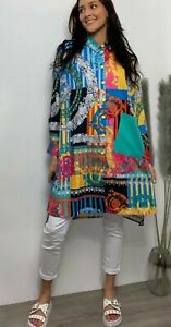 Shirt Dress Top Buttoned Dipped Hem Oversized Colourful Print Large 16 18 20
