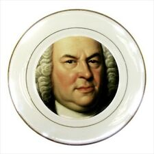 Johann Sebastian Bach Gold Trimmed Porcelain Plate with Display Stand