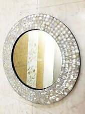 Decorative Wall Mirror Mother of Pearl Inlay Frame 394mm Diameter Home Decor