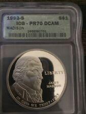 1993 S $1 James Madison Silver Commemorative Proof Dollar ICG PR70DCAM $460 ^