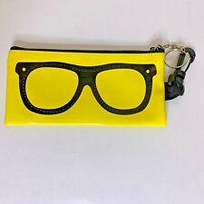 Soft Vinyl Eyeglass Case Yellow Black Glasses Pouch Zipper NEW