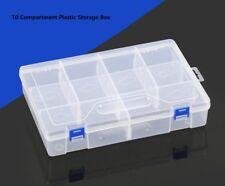 10 Compartment Plastic Storage Box Movable Dividers Portable Organizer Tool Case