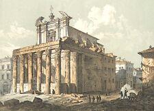 Rome Forum Romanum ANCIENT TEMPLE ANTONINUS & FAUSTINA, 1893 Art Print Engraving