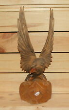 Vintage hand carving wood eagle figurine