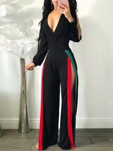 Black Multi Striped Thigh Split Party Clubbing V Neck Sexy Wide Leg Jumpsuit