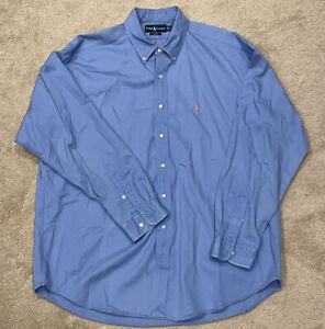 Ralph Lauren Men's Shirt Long Sleeve Blake Blue Button Down Size XL  See Photos