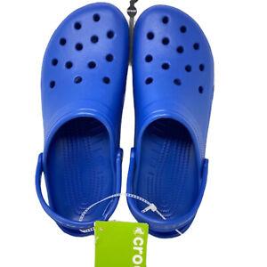 Crocs Men's Sz 17 Classic Blue Jean Clogs Roomy Shoes Sandals Slip On New NWT