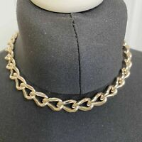 VINTAGE Chunky Curb Chain Collar Necklace Gold Tone 41cm 80s Power STATEMENT