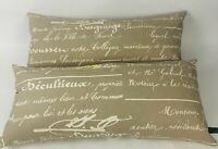 Newport USA Set of 2 Beige Cream Taupe Lumbar Decorative Throw Pillows Zip Cove