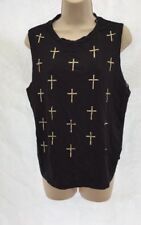 New River Island Black Stud Cross Mesh Back Tank Top Vest UK 14 DE89