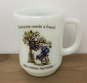 Vintage Holly Hobbie and Robby Mug White Milk Glass Everyone Needs A Friend EUC