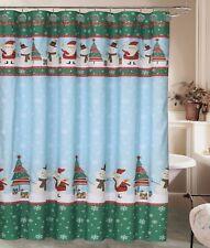 Christmas Holiday Santa Snowman Shower Curtain 12 Resin Shower Hook Rings Bath