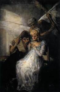 """Handmade Oil Painting repro Francisco de Goya Time of the Old Women 24""""x36"""""""