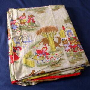 Vintage Childrens Fairy Tale Bedspread Coverlet Novelty Print Twin Sz Handmade