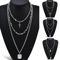 Vintage Women Multi-layer Chain Star Dog Tag Pendant Choker Necklace Jewelry