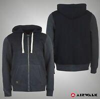Mens Branded Airwalk Classic Casual Panel Full Zip Hoody Top Size S M L XL XXL