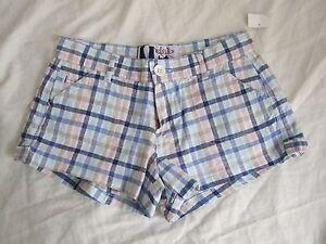 NEW DEB Short Mini shorts sz 1 or 5 White Blue Pink Khaki Plaid Board Checkered!