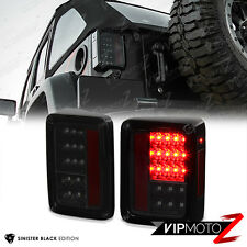 "2007-2017 Jeep Wrangler JK J8 TJL ""SINISTER BLACK"" LED Brake Taillights Smoke"