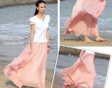 UK Women Beach Party Chiffon Pleated Long Maxi Skirt Dress Pink