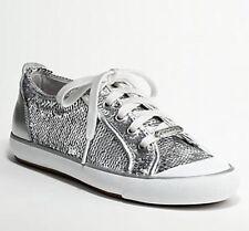 Coach Signature Silver Sequin Barrett Sneakers Shoes Women's Size 7.5