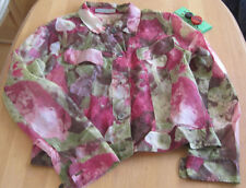 Seidenjacke N4 MARC CAIN Blumen 100% Seide 40 Organza Jacke  grün rot lila