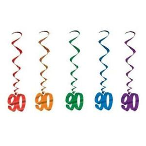 """90th Birthday Hanging Whirls 5 Pack 36"""" Foil 90th Party Hanging Decoration"""