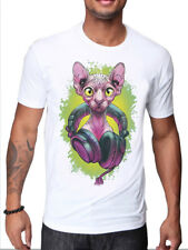 MENS WHITE T-SHIRT WITH FUNKY PINK EGYPTIAN SPHYNX WITH HEADPHONES DESIGN