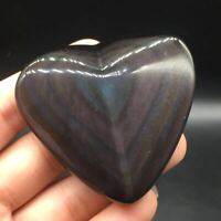 Natural Rainbow Obsidian Cat Eyes Quartz Crystal Heart Shaped Healing Decoration