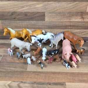 23 Farm Animal Figures Bundle Pig Cow Dog Sheep Horse Donkey Goat Large & Small