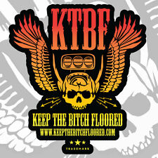 "RAT ROD HOT ROD DECAL STICKER - KEEP THE BITCH FLOORED | ""SKULL-N-WINGS"""